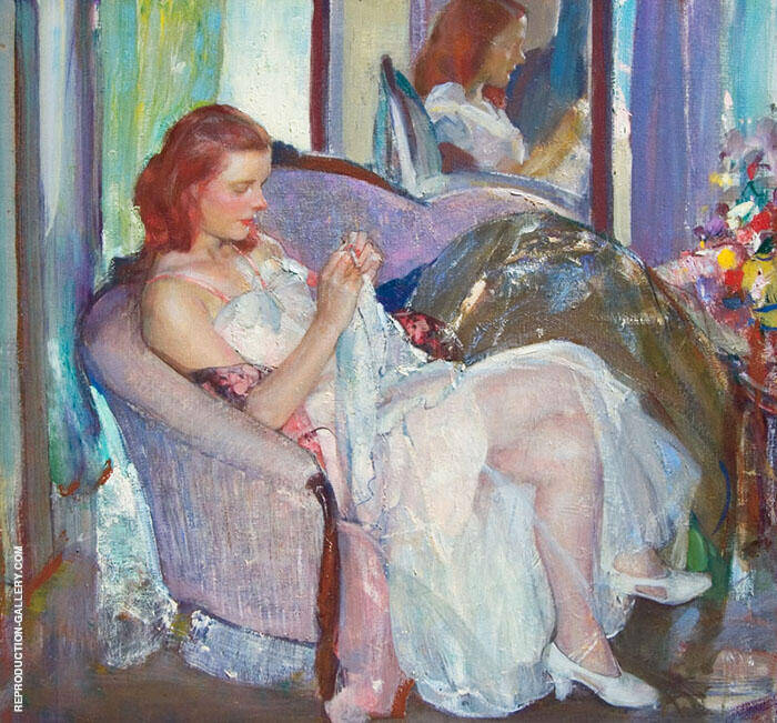 Young Lady Sewing Painting By Richard Emil Miller - Reproduction Gallery