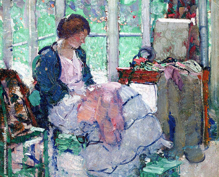Young Lady Sewing 2 By Richard Emil Miller