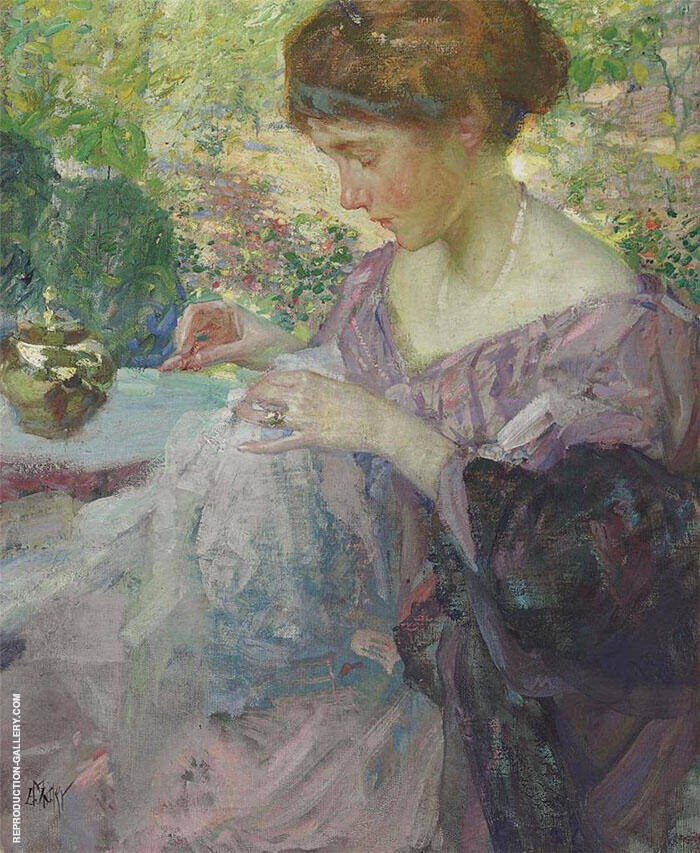 Young Woman Sewing By Richard Emil Miller