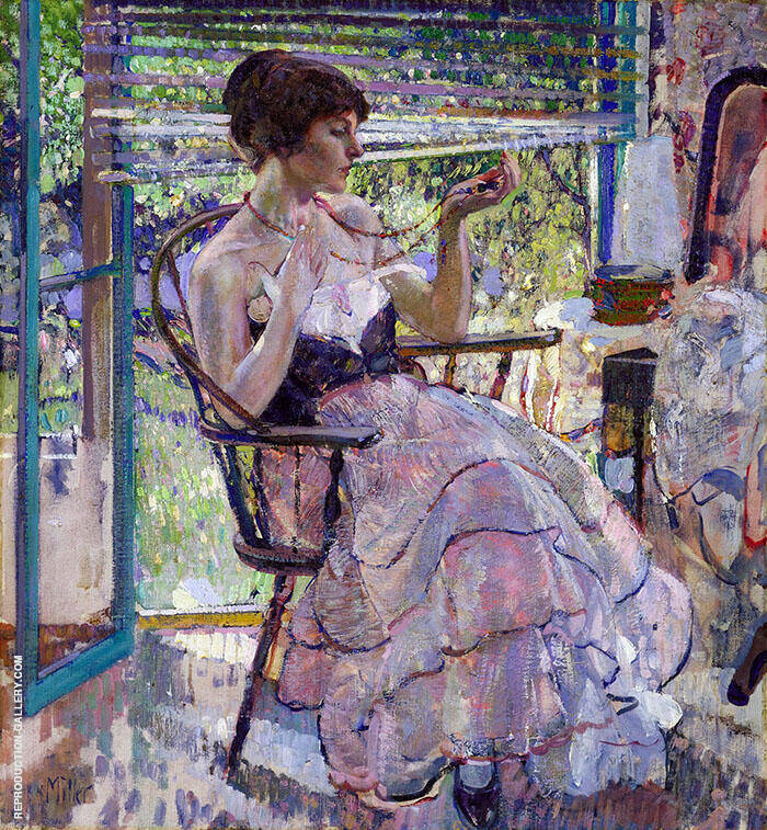 Self Portrait The Necklace c1924 Painting By Richard Emil Miller