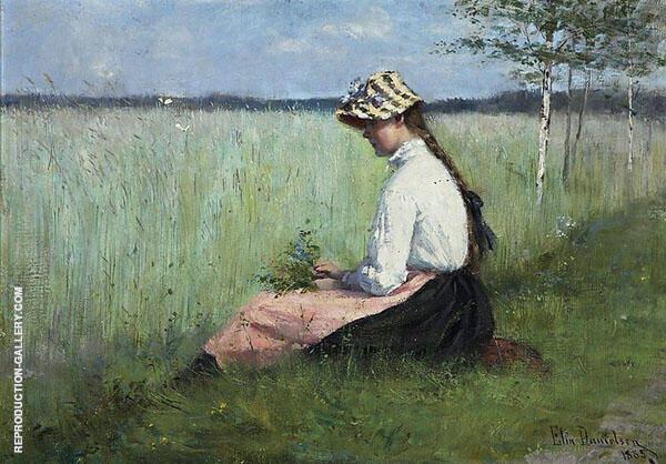 Girl in a Meadow Painting By Elin Kleopatra Danielson Gambogi
