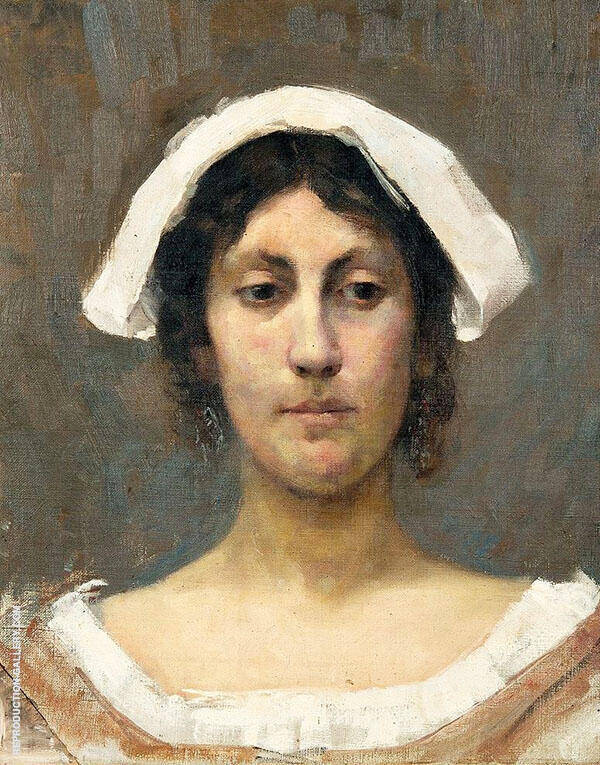 Girl in White Bonnet 1892 Painting By Elin Kleopatra Danielson Gambogi