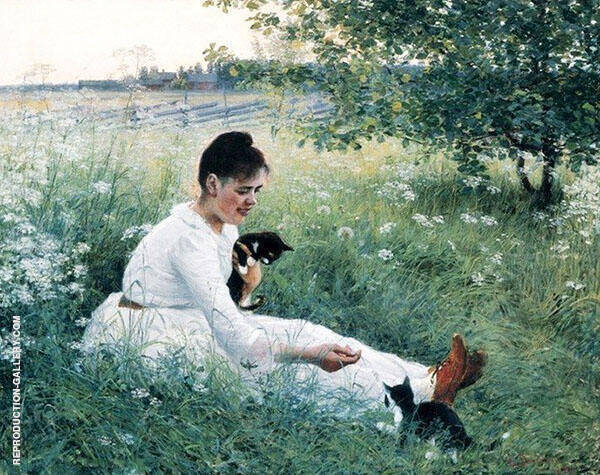 Girl with Cats in a Summer Painting By Elin Kleopatra Danielson Gambogi