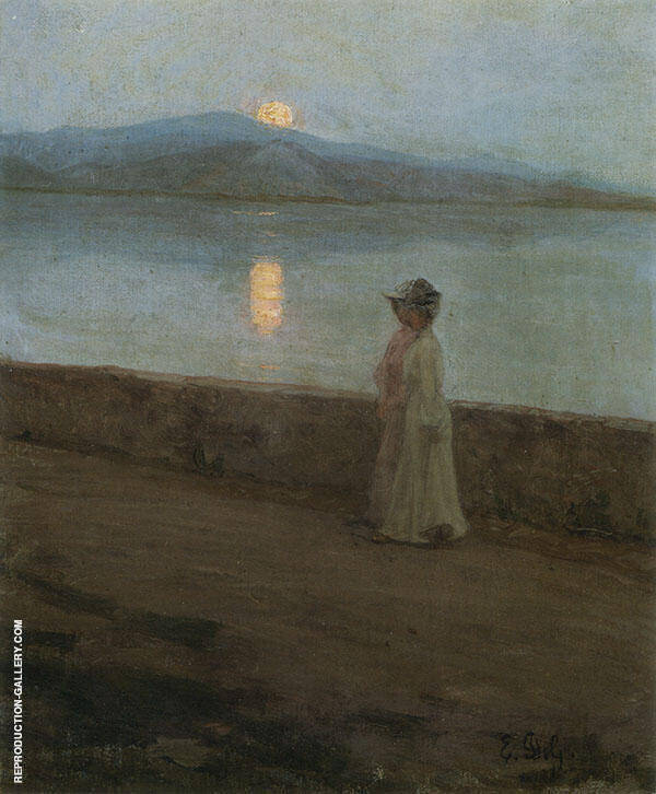 Moonlight on The Lake Painting By Elin Kleopatra Danielson Gambogi