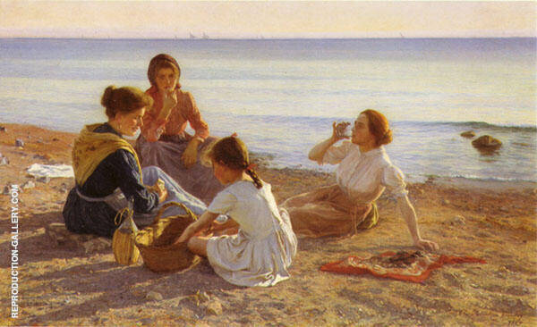On The Beach Painting By Elin Kleopatra Danielson Gambogi