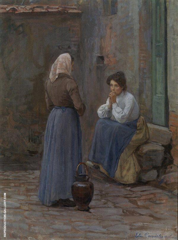 Two Women Painting By Elin Kleopatra Danielson Gambogi