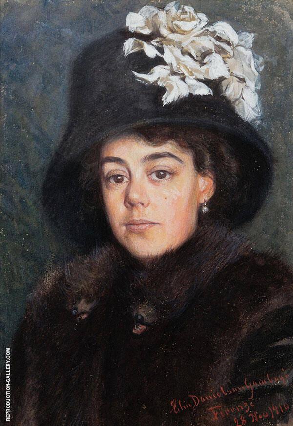 Young Woman Wearing Fur 1910 Painting By Elin Kleopatra Danielson Gambogi