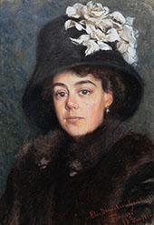 Young Woman Wearing Fur 1910 By Elin Kleopatra Danielson Gambogi