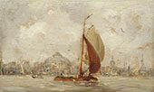 Barge in The Harbor of Amsterdam By Hobbe Smith