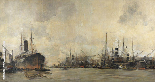 View of The Ertshaven and Levantkade with Ships of The Royal Netherlands Steamship Company By Hobbe Smith