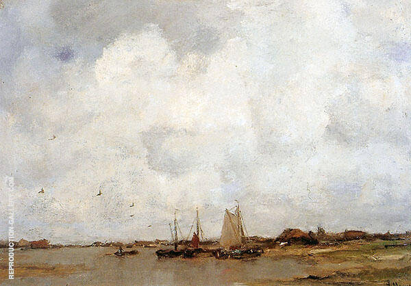 Fishing Ships on a River By Jacob Maris