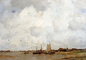 Fishing Ships on a River By Jacob Maris