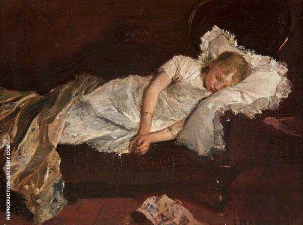 Girl Asleep on a Sofa By Jacob Maris