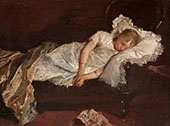 Girl Asleep on a Sofa By Jacob Maris