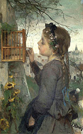 Girl Feeding her Bird in a Cage By Jacob Maris