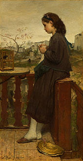 Girl Knitting on The Balcony Montmartre 1869 By Jacob Maris