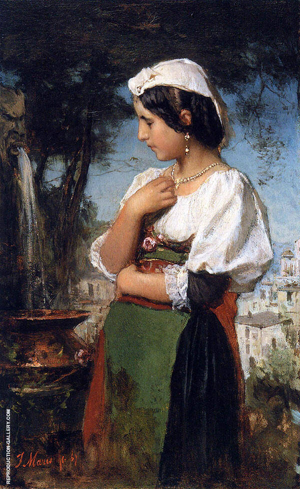 Italian Girl at a Fountain By Jacob Maris