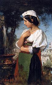 Italian Girl at a Fountain By Jacob Maris