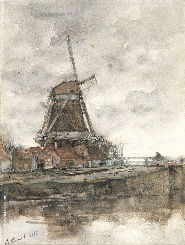 The Mill and The Bridge at The Noord West Buitensingel in The Hague By Jacob Maris