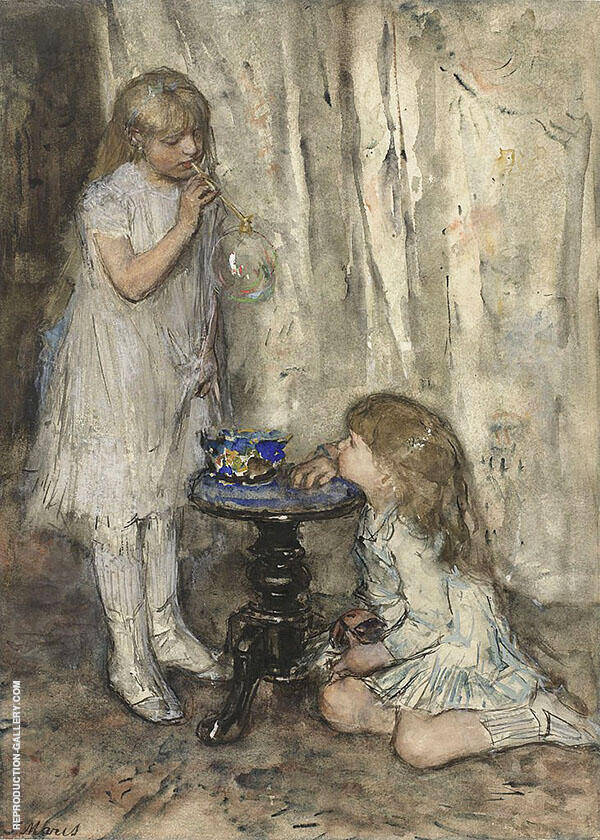 Two Girls Blowing Bubbles c1880 By Jacob Maris