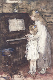 Two Girls Daughters at The Piano By Jacob Maris