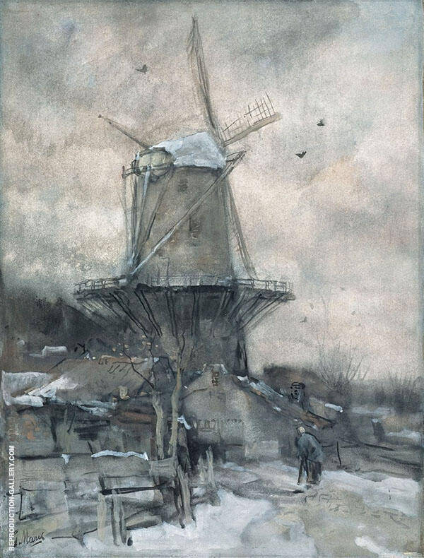 Windmill in Winter By Jacob Maris