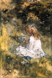 Young Girl Picking Flowers in The Grass By Jacob Maris