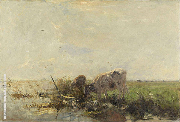 Cow at Waters Edge c1900 By Willem Maris