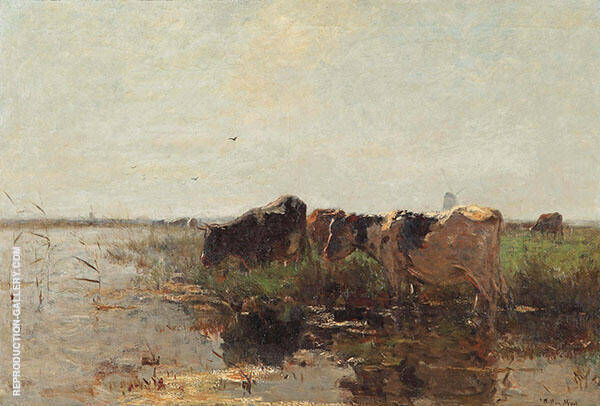 Cows Grazing near a Stream c1907 By Willem Maris