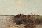 Cows Grazing near a Stream c1907 By Willem Maris