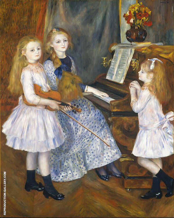 The Daughters of Catulle Mendes 1888 by Pierre Auguste Renoir   Oil Painting Reproduction Replica On Canvas - Reproduction Gallery