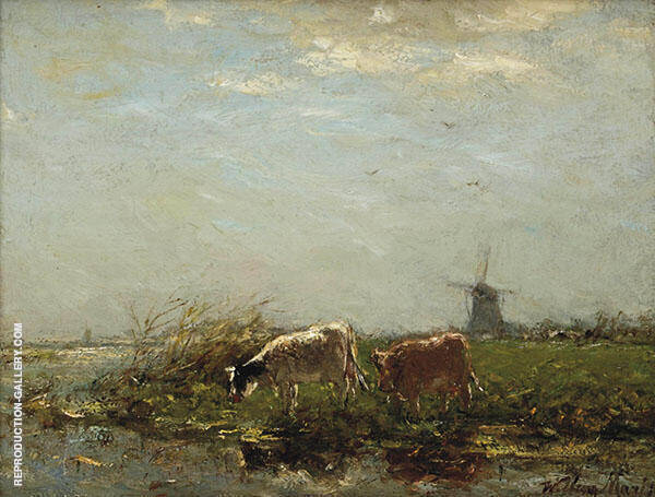 Cows near The Waterfront By Willem Maris