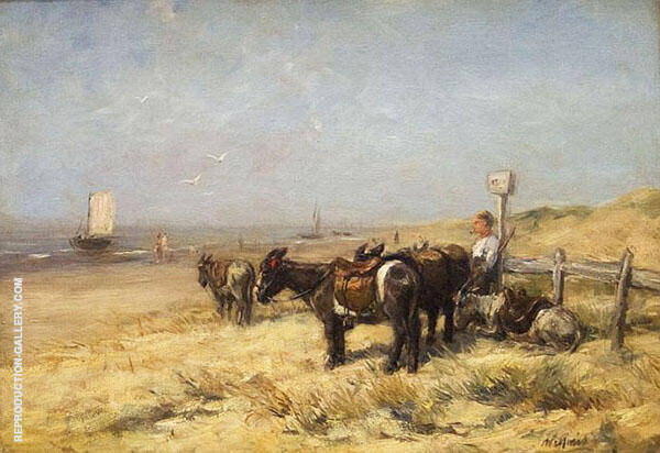 Donkeys on Beach By Willem Maris