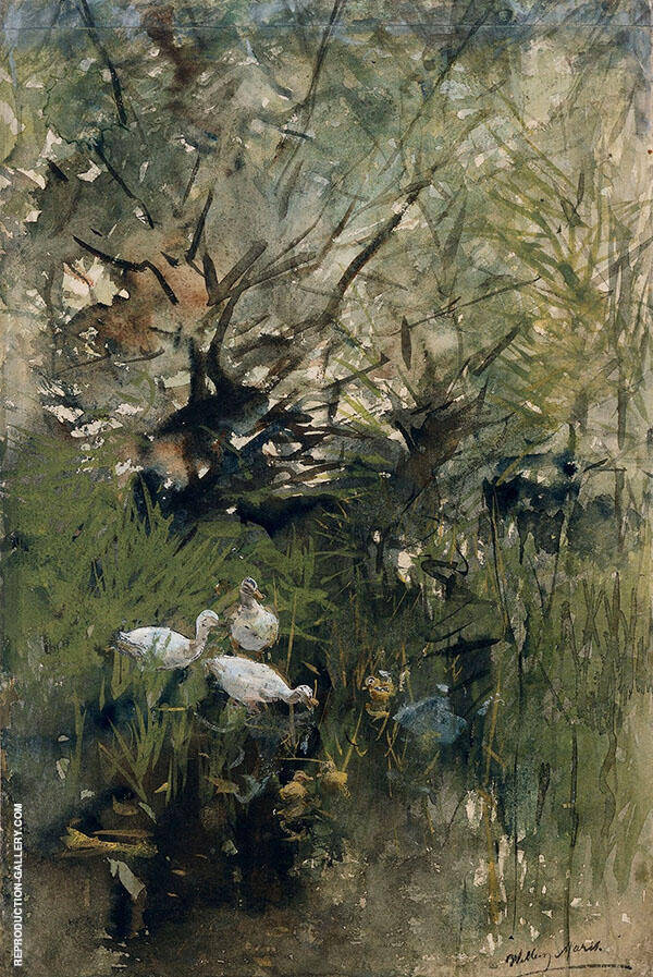 Ducks Among By Willem Maris