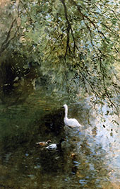 Ducks and Swan at The Waterside By Willem Maris