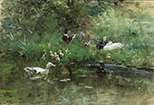 Ducks in a Meadow By Willem Maris