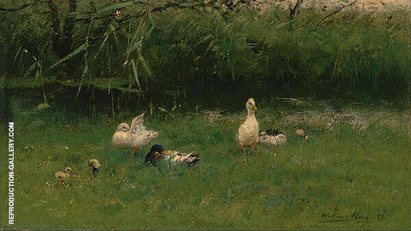 Ducks in The Grass near a Ditch c1900 By Willem Maris