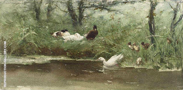Ducks on The Ditch Side By Willem Maris