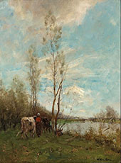 Farmer's Wife with Cattle near a Small River Summer Day By Willem Maris
