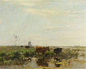 Meadow with Cows by The Water c1890 By Willem Maris