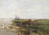 Two Cows by a Pool c1890 By Willem Maris