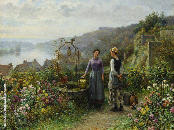 At The Well Painting By Daniel Ridgway Knight - Reproduction Gallery