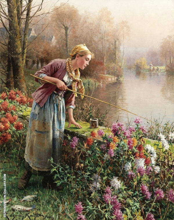 Brittany Girl Fishing by Daniel Ridgway Knight | Oil Painting Reproduction Replica On Canvas - Reproduction Gallery