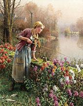 Brittany Girl Fishing By Daniel Ridgway Knight