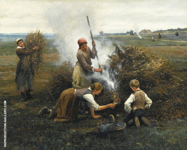 Burning Brush by Daniel Ridgway Knight   Oil Painting Reproduction Replica On Canvas - Reproduction Gallery