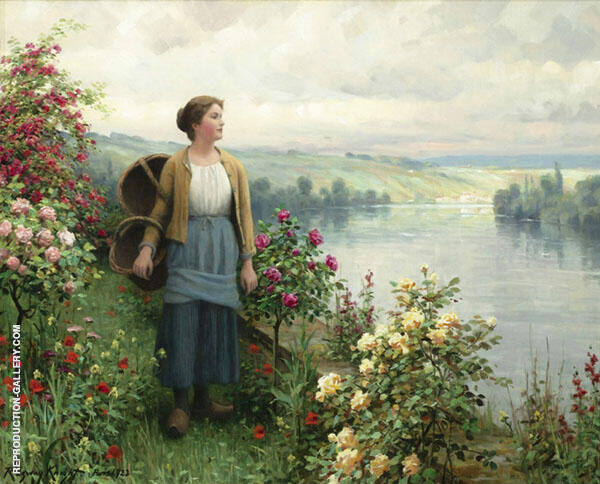 By The River Painting By Daniel Ridgway Knight - Reproduction Gallery