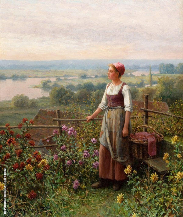 Evening at Chantemesle by Daniel Ridgway Knight | Oil Painting Reproduction Replica On Canvas - Reproduction Gallery