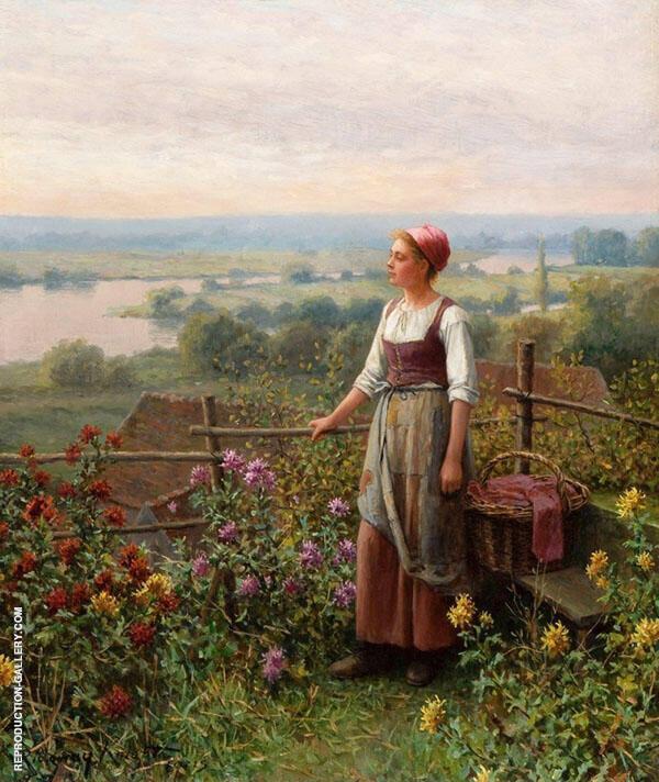 Evening at Chantemesle Painting By Daniel Ridgway Knight