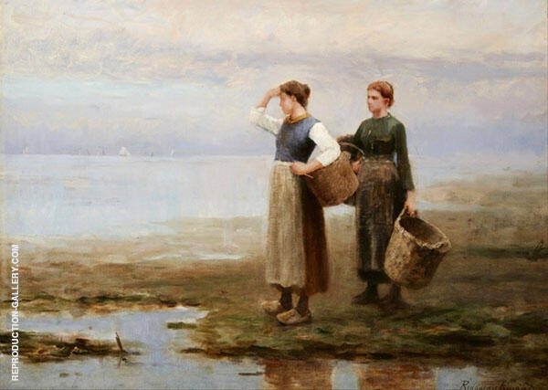Fisher Women on The Shore Painting By Daniel Ridgway Knight