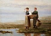 Fisher Women on The Shore By Daniel Ridgway Knight
